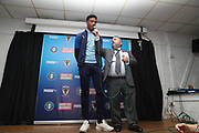 AFC Wimbledon goalkeeper Nathan Trott (1) being interviewed by Ivor Heller during the EFL Sky Bet League 1 match between AFC Wimbledon and Portsmouth at the Cherry Red Records Stadium, Kingston, England on 19 October 2019.