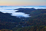 View of fog in the valley from an overlook along Skyline Drive in the south district of the park
