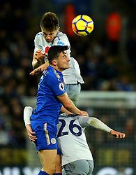 Jonjoe Kenny of Everton beats Ben Chilwell of Leicester City to a header - Mandatory by-line: Robbie Stephenson/JMP - 29/10/2017 - FOOTBALL - King Power Stadium - Leicester, England - Leicester City v Everton - Premier League