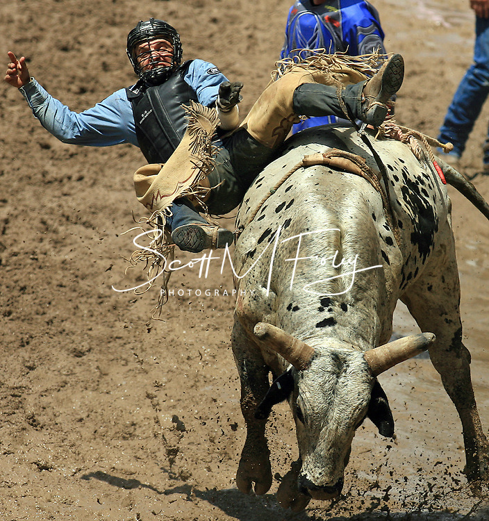 Bull Rider DUSTIN LUKE SHIPP earns a No Score while attempting to ride 7 DON MCGRATH BK, 28 July 2007, Cheyenne Frontier Days