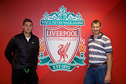 LIVERPOOL, ENGLAND - Sunday, June 18, 2017: Marcus Willis and Barry Cowan on a visit Anfield during Day Four of the Liverpool Hope University International Tennis Tournament 2017. (Pic by David Rawcliffe/Propaganda)