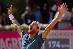 May 6, 2018 - Estoril, Estoril, Portugal - Joao Sousa from Portugal celebrate after winning the Final of the Millennium Estoril Open 2018 match between Joao Sousa vs Frances Tiafoe for Millennium Estoril Open 2018 at Clube de Tenis do Estoril on May 06, 2018 in Estoril, Portugal. (Credit Image: © Dpi/NurPhoto via ZUMA Press)