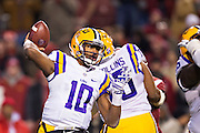 FAYETTEVILLE, AR - NOVEMBER 15:  Anthony Jennings #10 of the LSU Tigers throws a pass during a game against the Arkansas Razorbacks at Razorback Stadium on November 15, 2014 in Fayetteville, Arkansas.  The Razorbacks defeated the Tigers 17-0.  (Photo by Wesley Hitt/Getty Images) *** Local Caption *** Anthony Jennings