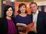 REPRO FREE: Niamh Walsh and Caroline Miney from Ulster Bank with  John Crumlish, CEO GIAF  in Hotel Meyrick for the announcement of the programme for the 2018 Galway International Arts Festival Programme 16-29 July which features an exciting Irish and international programme of theatre, opera, dance, circus, music, spectacle, visual art, and First Thought Talks featuring interviews and discussions on the theme of home, six world premieres, five Irish premieres and artists and theatre makers from across the world. Highlights include world premieres of Paul Muldoon's Incantata, new plays by Sonya Kelly and Cristin Kehoe (Druid) and a new theatre installation from Enda Walsh, visual arts / installations commissions from David Mach Rock 'n' Roll and Olivier Grossetête The People Build. Photo:Andrew Downes, xposure.