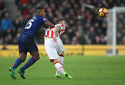 Marko Arnautovic of Stoke City (R) and Luis Antonio Valencia of Manchester United in action - Mandatory by-line: Jack Phillips/JMP - 21/01/2017 - FOOTBALL - Bet365 Stadium - Stoke-on-Trent, England - Stoke City v Manchester United - Premier League