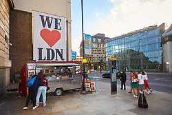© Licensed to London News Pictures. 11/06/2017. LONDON, UK.  A large We heart Ldn sign opposite Borough Market. The market remain has remained closed since a terror attack a week ago killed eight people but is expected to begin reopening tomorrow (Monday).  Photo credit: Cliff Hide/LNP