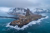 Hvalnes aerial drone shot. East Iceland.