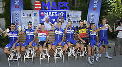 July 23, 2018 - Mende, FRANCE - Argentina Maximiliano Richeze of Quick-Step Floors, French Julian Alaphilippe of Quick-Step Floors, Luxembourg Bob Jungels of Quick-Step Floors, Dutch Niki Terpstra of Quick-Step Floors, Belgian Tim Declercq of Quick-Step Floors, Belgian Yves Lampaert of Quick-Step Floors, Belgian Philippe Gilbert of Quick-Step Floors and Czech Petr Vakoc of Quick-Step Floors pictured during the second rest day of the 105th edition of the Tour de France cycling race in Carcassone, France, Monday 23 July 2018. This year's Tour de France takes place from July 7th to July 29th. BELGA PHOTO YORICK JANSENS (Credit Image: © Yorick Jansens/Belga via ZUMA Press)