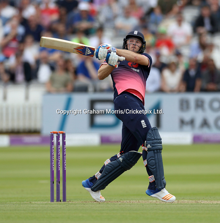 David Willey bats during the third and final Royal London One Day Series match between England and South Africa at Lord's. Photo: Graham Morris / www.photosport.nz