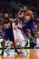 Nov 2, 2016; Phoenix, AZ, USA; Phoenix Suns forward TJ Warren (12) drives the basketball against the Portland Trail Blazers during the first half at Talking Stick Resort Arena. Mandatory Credit: Jennifer Stewart-USA TODAY Sports