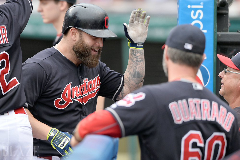 Jul 31, 2016; Cleveland, OH, USA; Cleveland Indians designated hitter Mike Napoli (26) celebrates his third inning home run against the Oakland Athletics at Progressive Field. Mandatory Credit: Ken Blaze-USA TODAY Sports