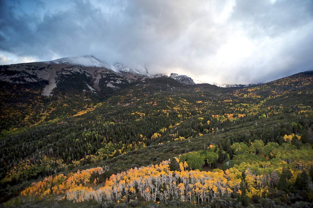 Mt. Wheeler receives a dusting of snow as fall arrives at Great Basin National Park in eastern Nevada.