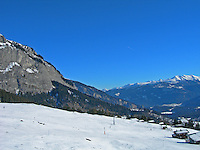 A glorious, sunny day in Flims, Graubunden, Switzerland. Views of the mountains and snow-covered slopes.