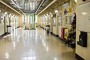 A christmas tree on the ground floor central walkway of Benbow wing inside HMP/YOI Portland, a resettlement prison with a capacity for 530 prisoners. Dorset, United Kingdom.