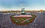 A sold out Kauffman Stadium during the National Anthem prior to the start of opening night between the Kansas City Royals and the New York Mets.