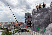 "Members of the TV crew ,actors and journalists on top of Stalin's replica head. For a TV movie called ""Monstrum"" produced by the Czech Television a huge replica of Soviet dictator Joseph Stalin was installed at metronome in the Czech capital. From May 1, 1955, until it was destroyed at the end of 1962  a giant granite statue of Stalin with a line of workers and scientists behind him was standing exactly at the same place."