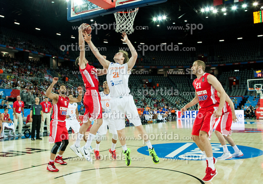 Mario Hezonja of Croatia vs Robin Smeulders of Netherlands during basketball match between Netherlands and Croatia at Day 5 in Group C of FIBA Europe Eurobasket 2015, on September 9, 2015, in Arena Zagreb, Croatia. Photo by Vid Ponikvar / Sportida