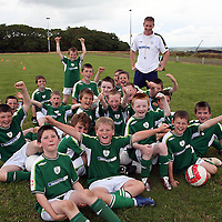 Coach Michael McDonagh with the U-10's at the Moneypoint F.C F.A.I summer soccer camp in Kilrush during the week.<br /><br /><br /><br />Photograph by Yvonne Vaughan.