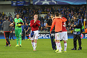 Wayne Rooney of Manchester United applauds the fans after the Champions League Qualifying Play-Off Round match between Club Brugge and Manchester United at the Jan Breydel Stadion, Brugge, Belguim on 26 August 2015. Photo by Phil Duncan.