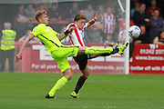 Charlie Joyce and Jack Munns during the Vanarama National League match between Cheltenham Town and Southport at Whaddon Road, Cheltenham, England on 15 August 2015. Photo by Antony Thompson.
