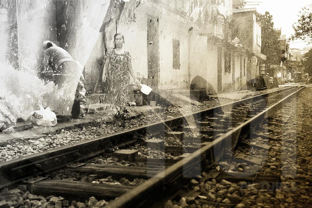 Double exposure film photography along the railway in Hanoi, Vietnam, Southeast Asia