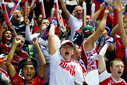Fans of Russia during basketball match between National teams of Georgia and Russia in Group D of Preliminary Round of Eurobasket Lithuania 2011, on September 1, 2011, in Arena Svyturio, Klaipeda, Lithuania. (Photo by Vid Ponikvar / Sportida)