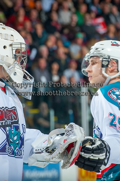 KELOWNA, CANADA - MARCH 21: Jackson Whistle #1 and Leon Draisaitl #29 of Kelowna Rockets celebrate a goal against the Vancouver Giants on March 21, 2015 at Prospera Place in Kelowna, British Columbia, Canada.  (Photo by Marissa Baecker/Shoot the Breeze)  *** Local Caption *** Jackson Whistle; Leon Draisaitl;