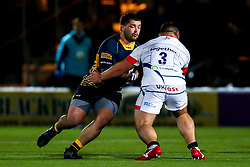 Simon Kerrod of Worcester Cavaliers takes on Joe Jones of Sale Jets - Mandatory by-line: Robbie Stephenson/JMP - 24/09/2018 - RUGBY - Sixways Stadium - Worcester, England - Worcester Cavaliers v Sale Jets - Premiership Rugby Shield