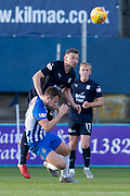 6th October 2018, Dens Park, Dundee, Scotland; Ladbrokes Premiership football, Dundee versus Kilmarnock; Andy Boyle of Dundee flattens Greg Stewart of Kilmarnock