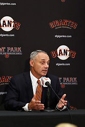 SAN FRANCISCO, CA - JUNE 25:  Commissioner of Major League Baseball Rob Manfred speaks during a press conference before the game between the San Francisco Giants and the San Diego Padres at AT&T Park on June 25, 2015 in San Francisco, California. The San Francisco Giants defeated the San Diego Padres 13-8. (Photo by Jason O. Watson/Getty Images) *** Local Caption *** Rob Manfred
