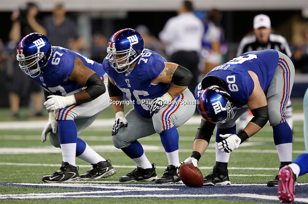 New York Giants guard Chris Snee (76) gets set for the snap during the NFL week 7 football game against the Dallas Cowboys on Monday, October 25, 2010 in Arlington, Texas. The Giants won the game 41-35. (©Paul Anthony Spinelli)