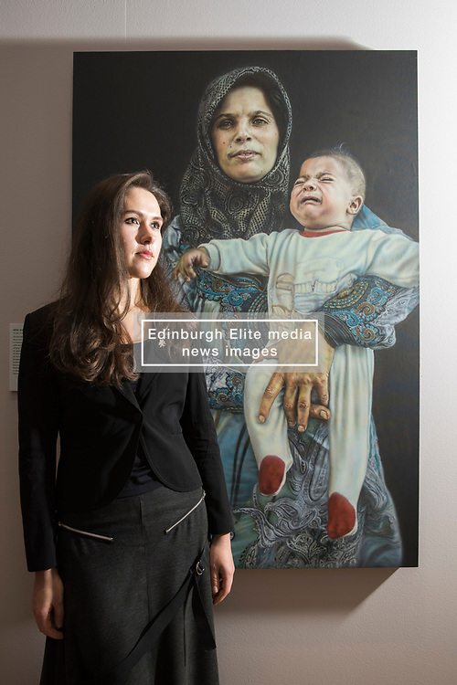 An Edinburgh College of Art graduate's prize-winning entry in a prestigious, worldwide portrait competition will go on show in Scotland for the first time this winter. The 2017 BP Portrait Award exhibition, which opens at the Scottish National Portrait Gallery on 18 December, will feature 53 stand-out works selected from 2,580 entries, by artists from 87 countries, including Breech! by Benjamin Sullivan which took this year's first prize. <br /> <br /> Pictured: 2016 Travel Award Winner Laura Guoke  with her painting Rima and Muhammed Ahmed