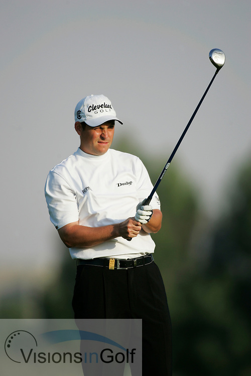 David Howell lines up his shot<br />