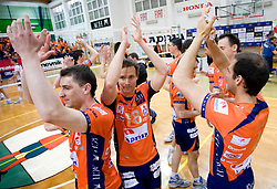 Andrej Flajs, Rok Satler of ACH celebrate at last final volleyball match of 1.DOL Radenska Classic between OK ACH Volley and Salonit Anhovo, on April 21, 2009, in Arena SGS Radovljica, Slovenia. ACH Volley won the match 3:0 and became Slovenian Champion. (Photo by Vid Ponikvar / Sportida)