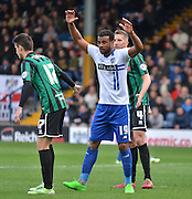Bury Midfielder Tom Soares appeals of shirt pulling during the Sky Bet League 1 match between Bury and Rochdale at Gigg Lane, Bury, England on 17 October 2015. Photo by Mark Pollitt.