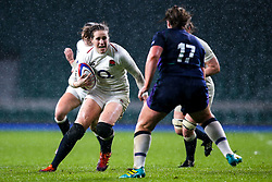 Emily Scarratt of England Women takes on Lisa Cockburn of Scotland Women - Mandatory by-line: Robbie Stephenson/JMP - 16/03/2019 - RUGBY - Twickenham Stadium - London, England - England Women v Scotland Women - Women's Six Nations