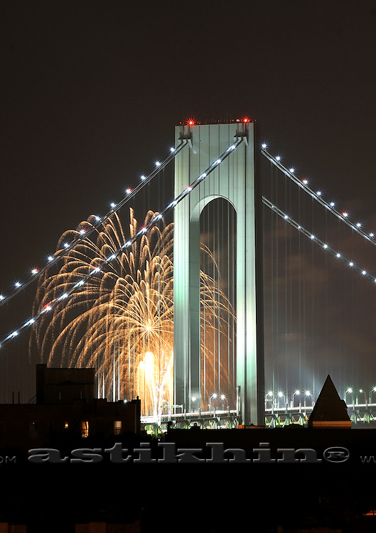 Verrazano Narrows Bridge and Firework,<br /> New York City USA.