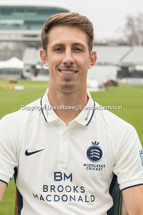 11 April 2018, London, UK.  John Simpson of Middlesex County Cricket Club in the County Championship white kit .