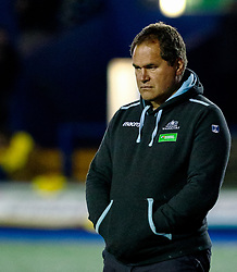 Head Coach Dave Rennie of Glasgow Warriors during the pre match warm up<br /> <br /> Photographer Simon King/Replay Images<br /> <br /> Guinness PRO14 Round 15 - Cardiff Blues v Glasgow Warriors - Saturday 16th February 2019 - Cardiff Arms Park - Cardiff<br /> <br /> World Copyright © Replay Images . All rights reserved. info@replayimages.co.uk - http://replayimages.co.uk