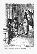 Robert Louis Stevenson 'The Strange Case of Dr Jekyll and Mr Hyde' first published 1886. Dr Lanyon opens his door at midnight to a small man in clothes too big for him: Mr Hyde. Illustration by Edmund J Sullivan, from an edition published 1928