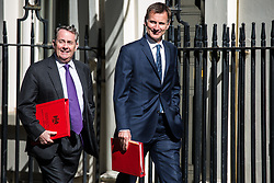 London, UK. 14 May, 2019.  Liam Fox MP, Secretary of State for International Trade and President of the Board of Trade, and Jeremy Hunt MP, Secretary of State for Foreign and Commonwealth Affairs, arrive at 10 Downing Street for a Cabinet meeting.