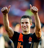 NETHERLANDS, Rotterdam : Netherlands' Robin Van Persie gestures before the friendly football match between the Netherlands and Slovakia in Rotterdam on May 30, 2012. AFP PHOTO/ ROBIN UTRECHT