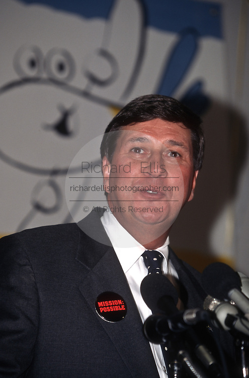 ValuJet President Lewis Jordan announces the resumption of flights September 26, 1996 after being grounded by the FAA following the deadly crash of a Valujet DC-9 that killed all 110 people aboard.