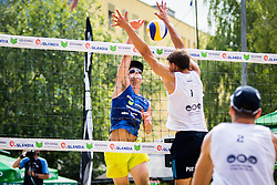 Nejc Zemljak of Debitel vs Zlatko Pulko of SK Vienpi during Qlandia Beach Challenge 2015 and Beach Volleyball Slovenian National Championship 2015, on July 25, 2015 in Kranj, Slovenia. Photo by Ziga Zupan / Sportida