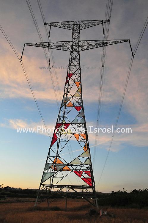 Israel, Negev Desert. High voltage power line pylon at sunset