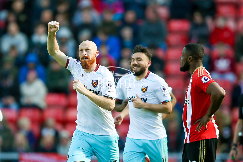 West Ham United Defender James Collins (19) scores a goal and celebrates to make the score 1-2 during the Premier League match between Sunderland and West Ham United at the Stadium Of Light, Sunderland, England on 15 April 2017. Photo by Simon Davies.