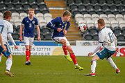 A captains performance as Connor Smith (C)(Heart of Midlothian) tries to keep his side going during the U17 European Championships match between Scotland and Russia at Simple Digital Arena, Paisley, Scotland on 23 March 2019.