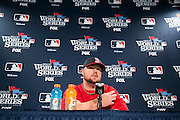 10/22/13 — BOSTON — Boston Red Sox World Series Game 1 starting pitcher Jon Lester fields questions from the media during his press conference at Fenway Park on Oct. 22, 2013.