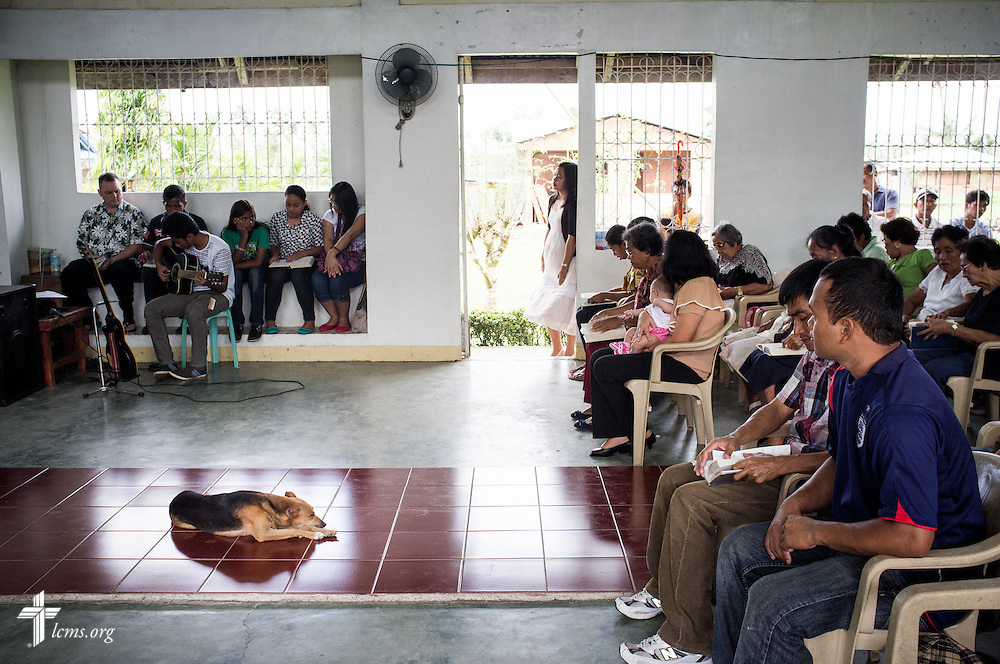 A dog rests during worship at Christ Lutheran Church in Mahayag, Leyte Province, Philippines, on Sunday, March 16, 2014. LCMS Communications/Erik M. Lunsford