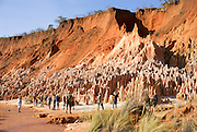 Madagascar, Ankarana Special Reserve. Red Tsingy - Sandstone erosion due to deforestation